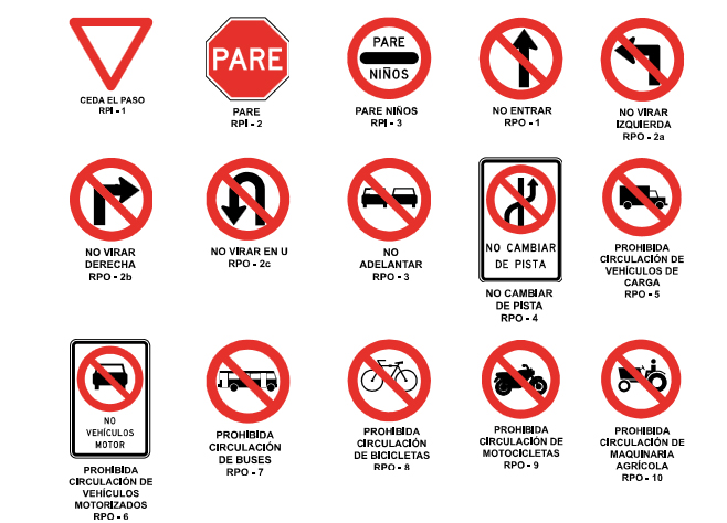 Ubicación Carretera Icono Material Amarillo Rojo Azul: Las Señales Reglamentarias En Chile